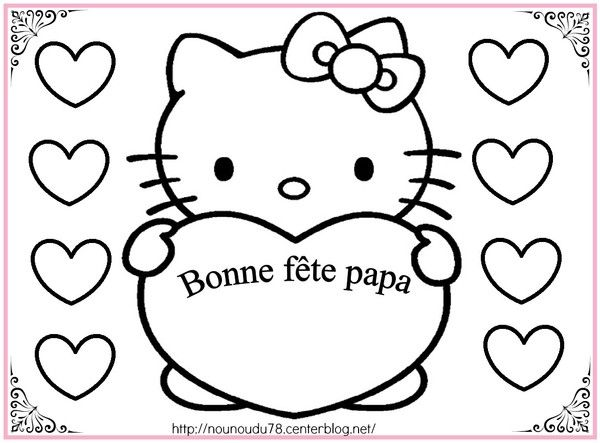Coloriages fete des peres - Coloriage tete hello kitty a imprimer ...