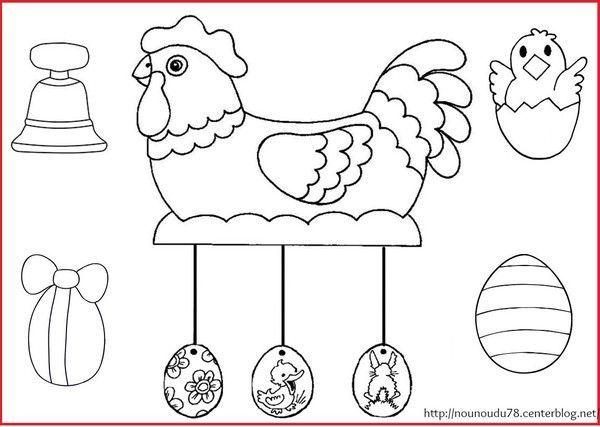 Coloriages paques - Dessin de poules ...