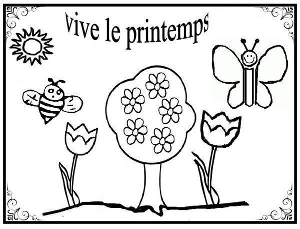 Coloriage Avril Printemps.Coloriages Printemps