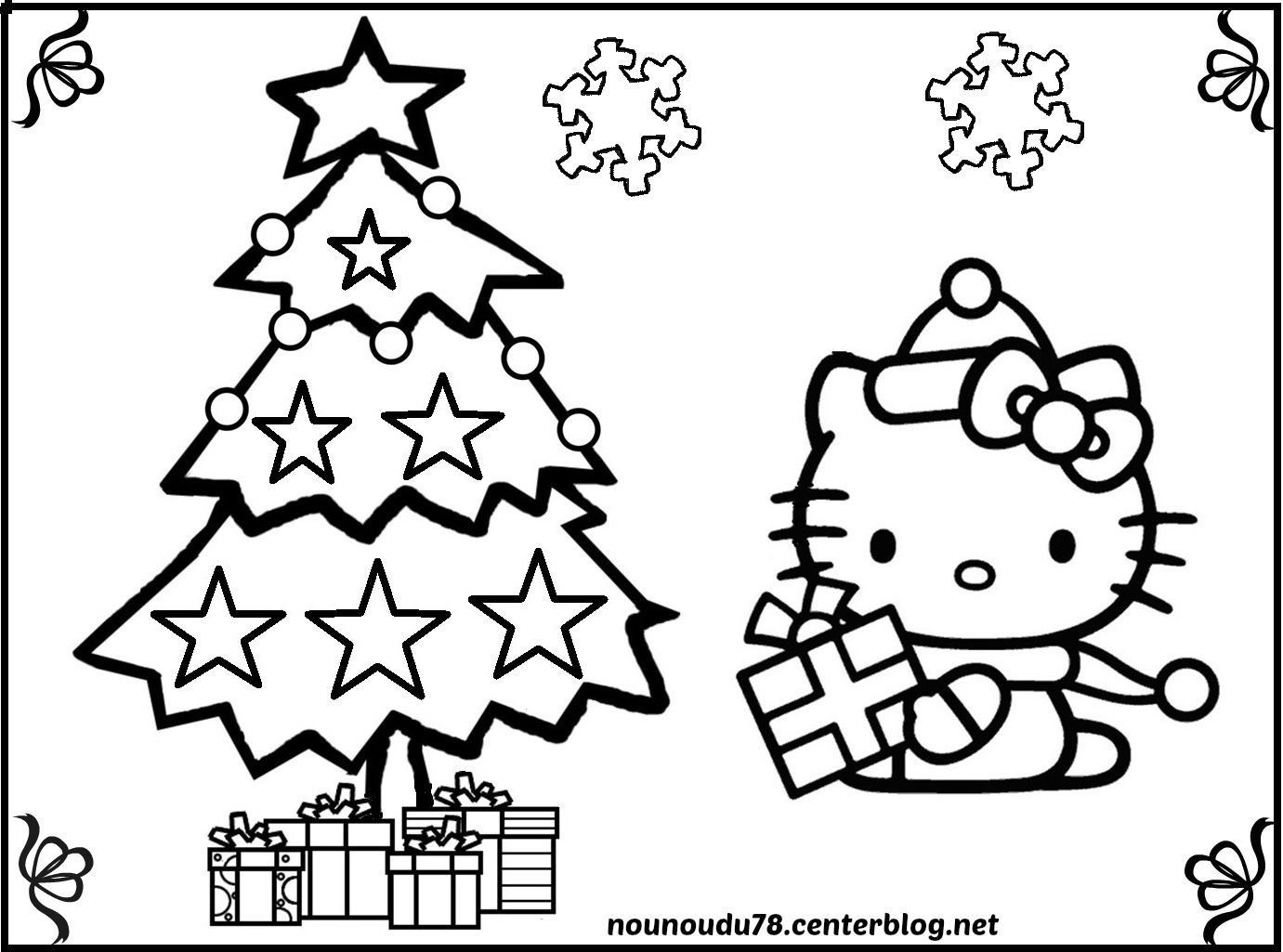 Coloriages de noel - Coloriage hello kitty a colorier ...