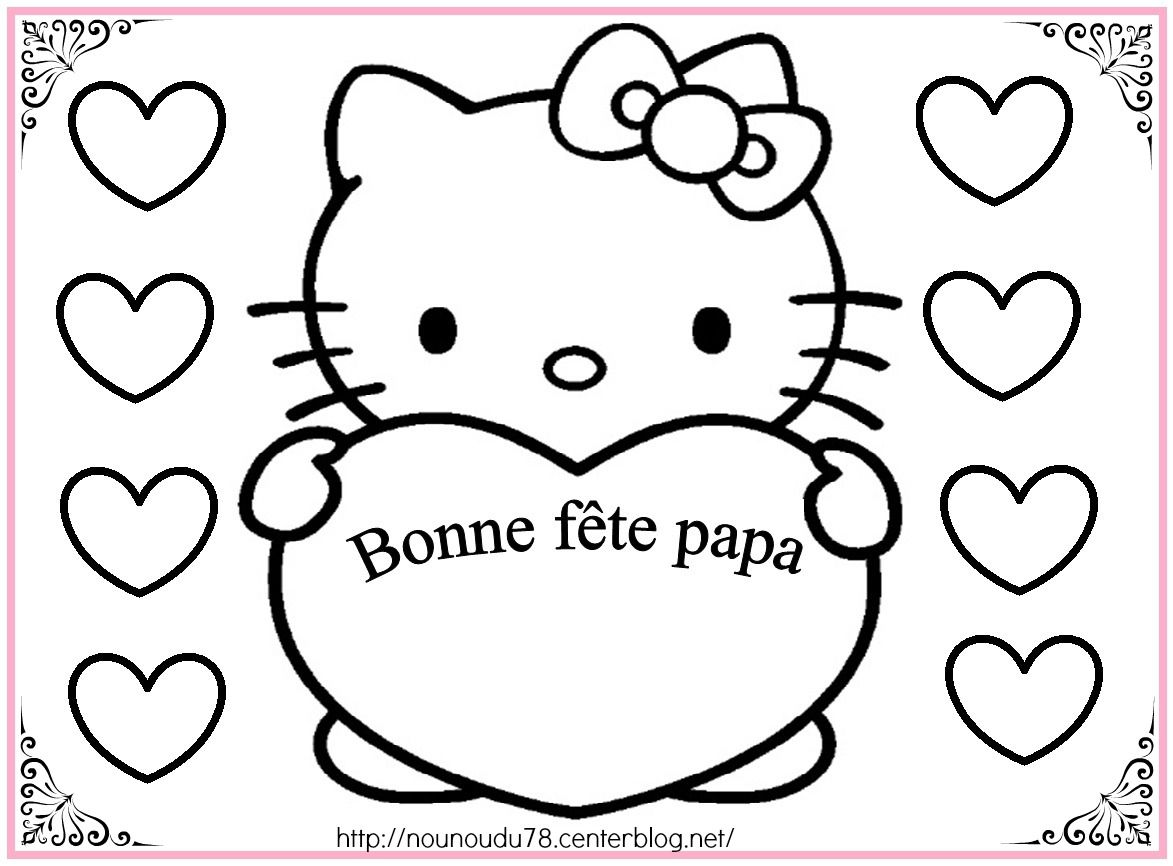 Coloriages fete des peres - Coloriage hello kitty ...