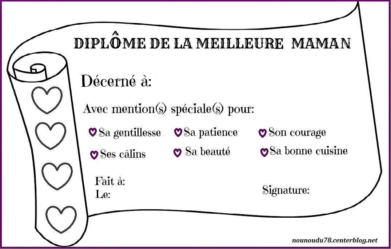 Coloriage Fete Des Mere Diplome.Diplome Fete Des Meres Colorier Les Enfants Marnfozine Com